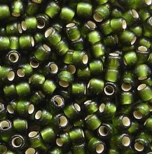 Toho 8/0 Seed Beads Silver Lined Frosted Olive 37F - 10 grams